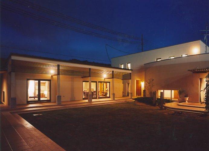 京田辺市M邸中庭夜景2